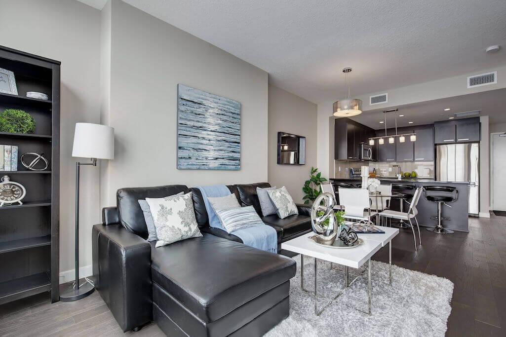 sectional-sofa-2402-225-11-Avenue-SE-Keynote-Condo-Victoria-Park-Beltline-Calgary-Real-Estate-Plintz-Realtor-Luxury