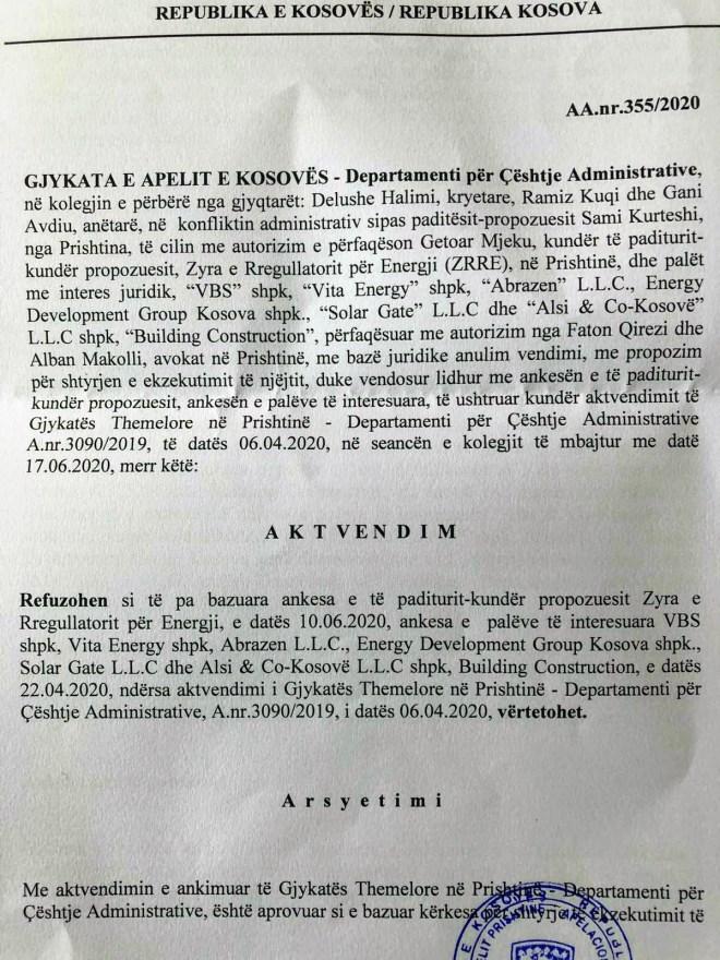 Aktvendim i Gjykatës së Apelit 355/2020, 17.6.2020, dorëzu 23.6.2020
