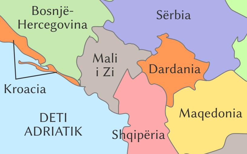 Dardania dhe vendet fqinje (hartë politike)
