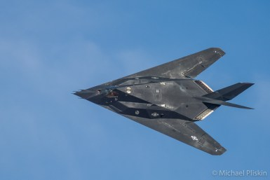 F-117 Nighthawk, the first Stealth fighter jet, flies over Edwards Air Force Base, CA
