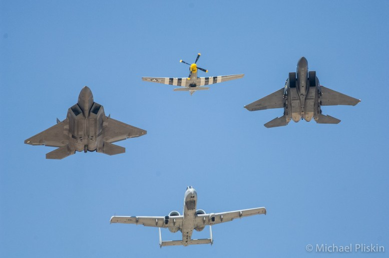 USAF Heritage Flight: Clockwise from top: P-51 Mustang, F-15E Strike Eagle, A-10 Thunderbolt II Warthog, F/A-22 Raptor