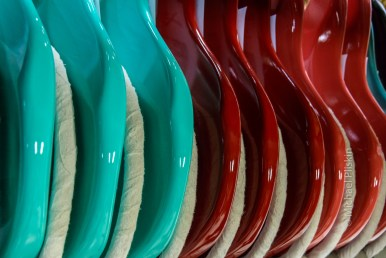Fender guitars awaiting further steps in the assembly process at the Fender factory in Corona, CA