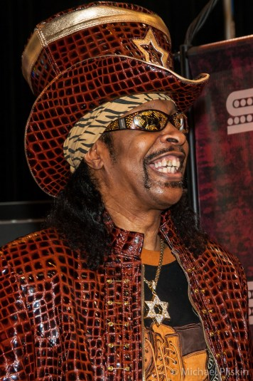 Bootsy Collins pays a visit to the Seymour Duncan booth at NAMM 2012