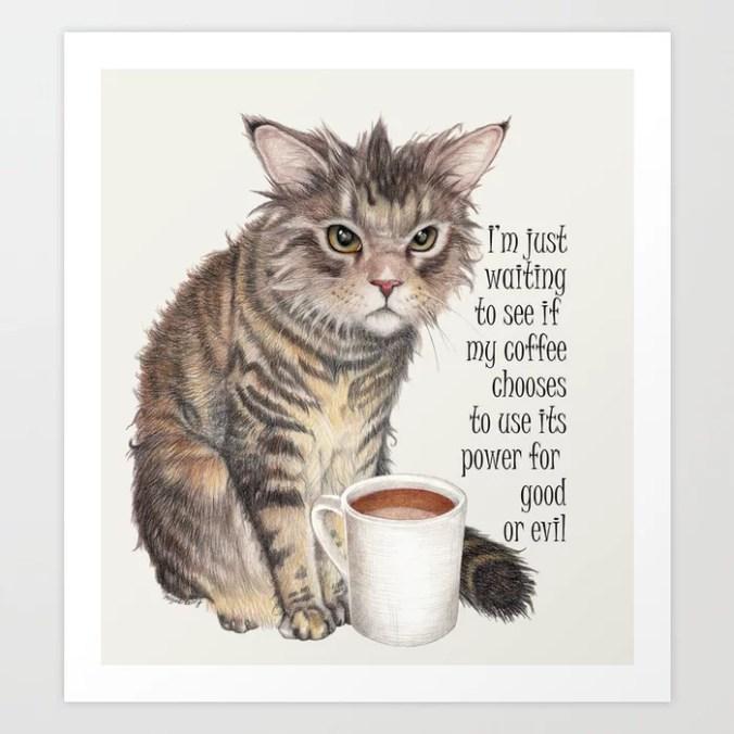 Coffee Cat Art Print