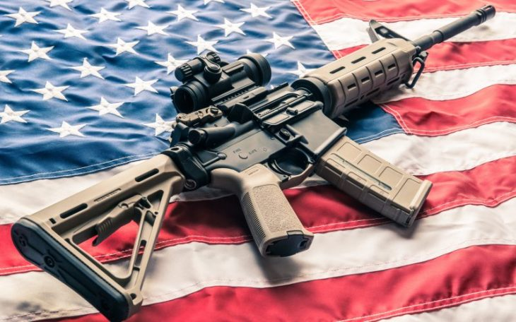 AR-15 on American flag