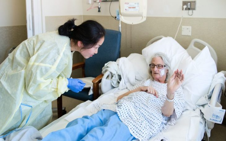 Patient Janet Prochazka, 74, said the constant checks by hospital staff made it hard for her to get a good night's sleep during her stay in the hospital. The night before, she said, she pulled the covers over her head in order to be left alone. (Heidi de Marco/KHN)