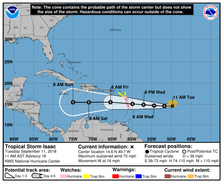 Tropical Storm Isaac after downgrade from Hurricane Isaac