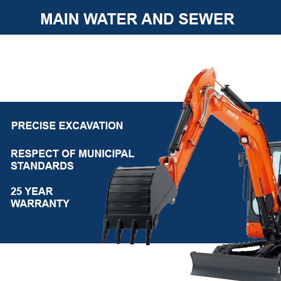 Water main and main sewer excavation