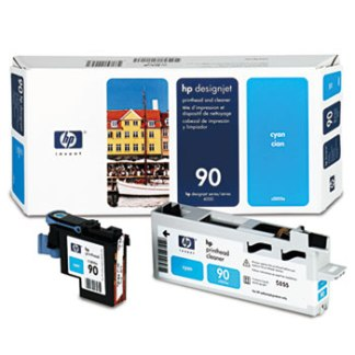 HP 90 Cyan Printhead & Cleaner