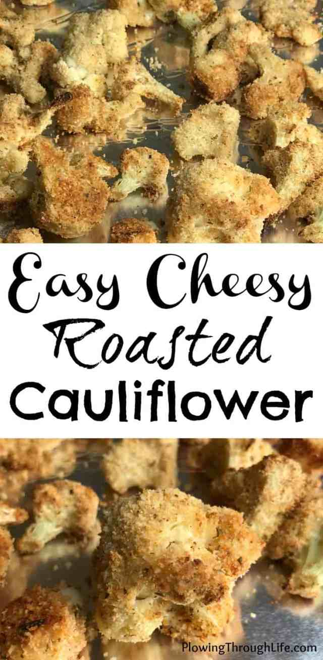 Easy Cheesy Roasted Cauliflower.  Adding parmesan cheese to roasted cauliflower is a such a great flavor combination. We all know that eating vegetables is important, but isn't always easy. This recipe makes eating your vegetables much easier!