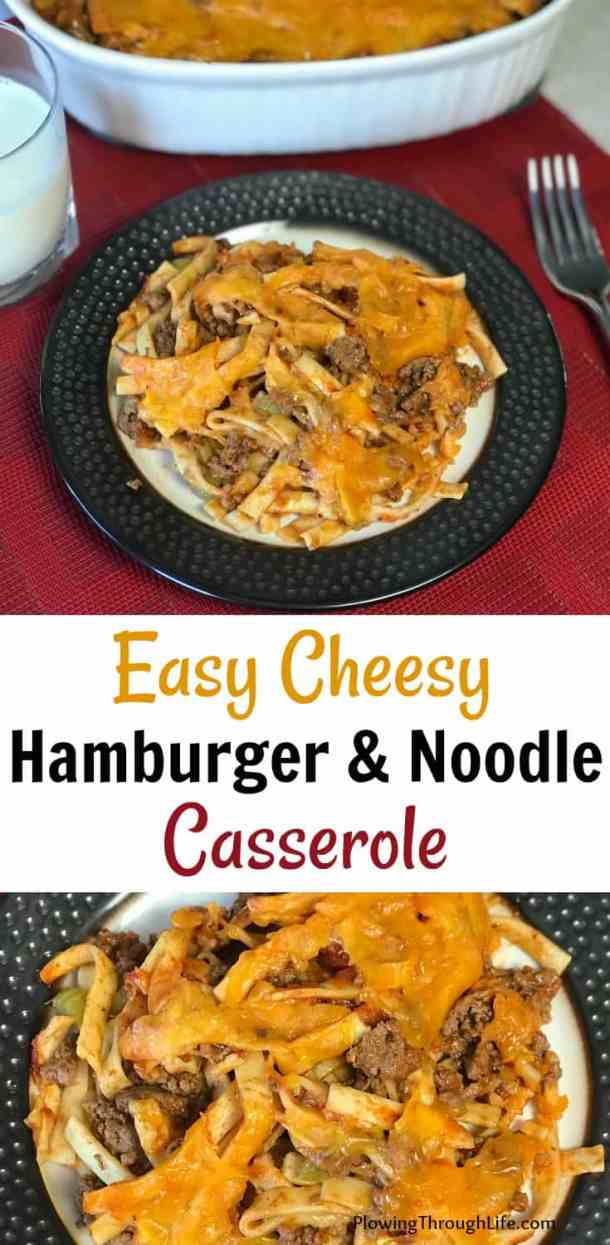 Easy cheesy ground beef casserole recipe with noodles collage
