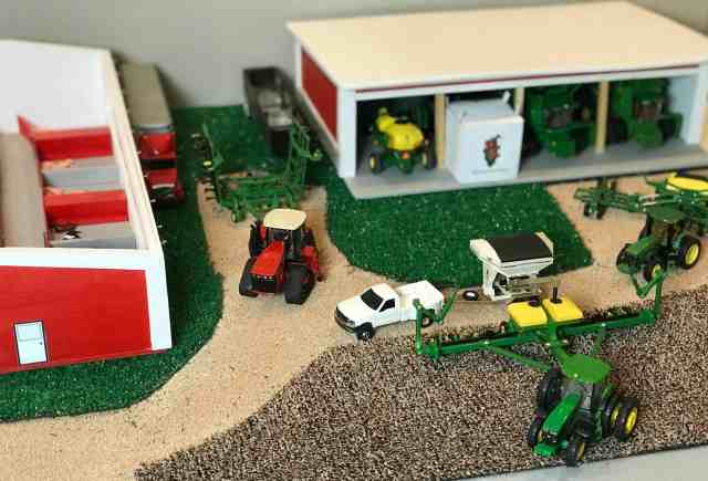 1/64 farm toy ideas with machinery shed, pig barn, field, gravel driveway, equipment, planting season, free printable activity for kids
