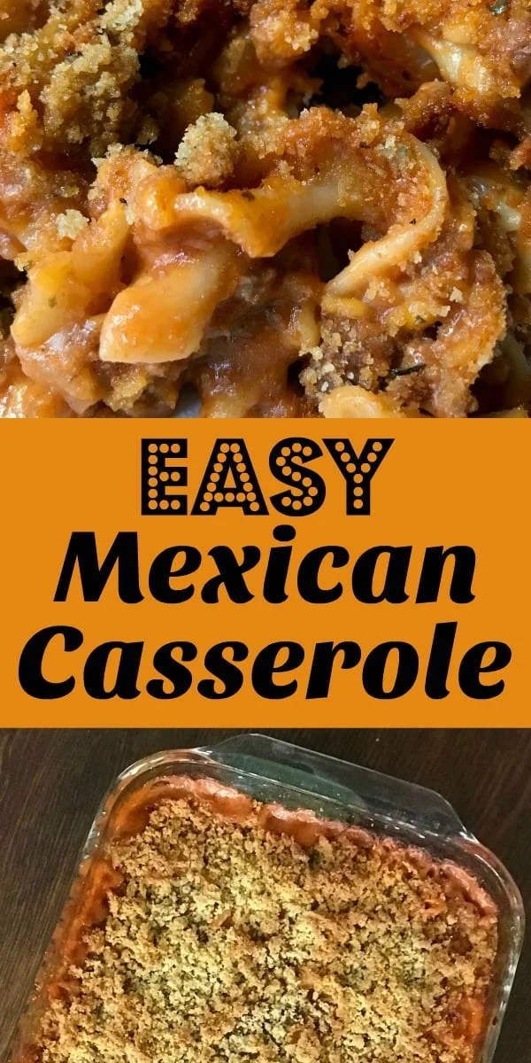 Easy ground beef and noodle casserole with tomato sauce and simple ingredients collage
