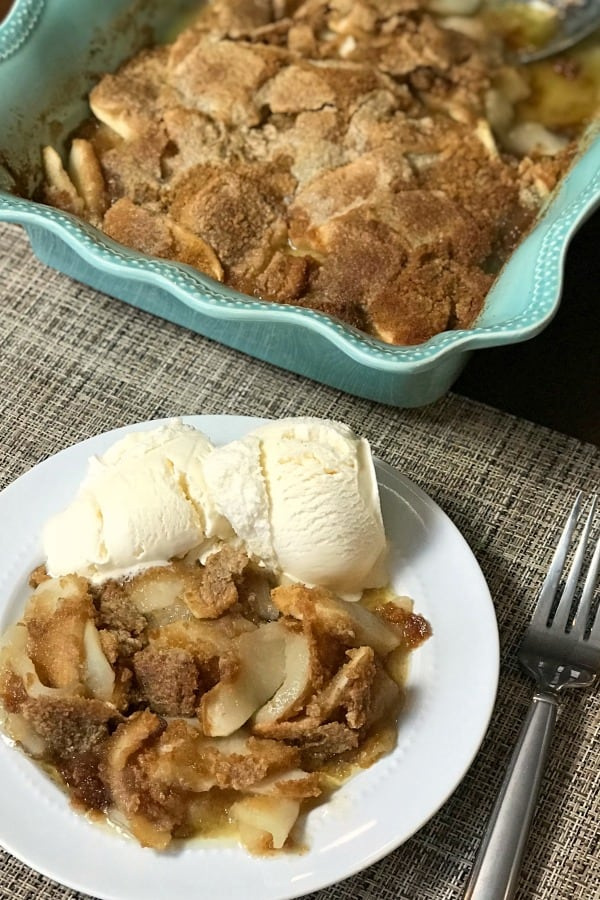 Are you craving an apple dessert?  This Farmhouse Apple Flip is a simple, sweet treat.  The recipe is DELICIOUS and EASY!  Sliced apples, graham cracker crumbs, butter, sugar, and cinnamon are the only ingredients!