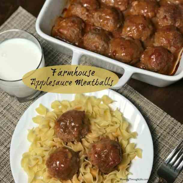 These Farmhouse Applesauce Meatballs are perfectly moist and delicious! There are two ingredients that really make this recipe stand apart from other meatball recipes.  The applesauce is key in keeping the meatballs moist and juicy.  The croutons soaked in the egg and milk serve as a great binder while helping pack more flavor into each meatball.