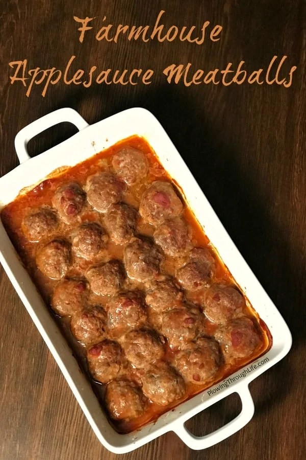 Are you looking for delicious meatballrecipes with ground beef? These Farmhouse Applesauce Meatballs are the best meatballs I've ever eaten! Our family loves the basic ingredients that that add a nice flavor and keep these meatballs moist!