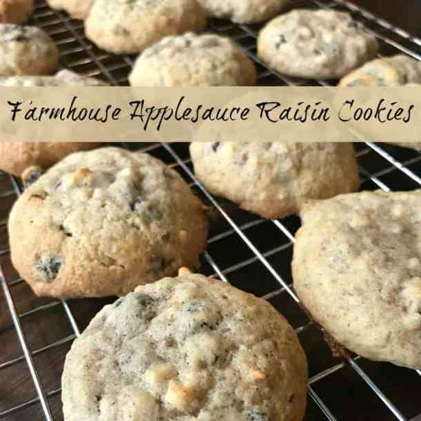 Old Fashioned Applesauce Raisin Cookies on a cooling rack