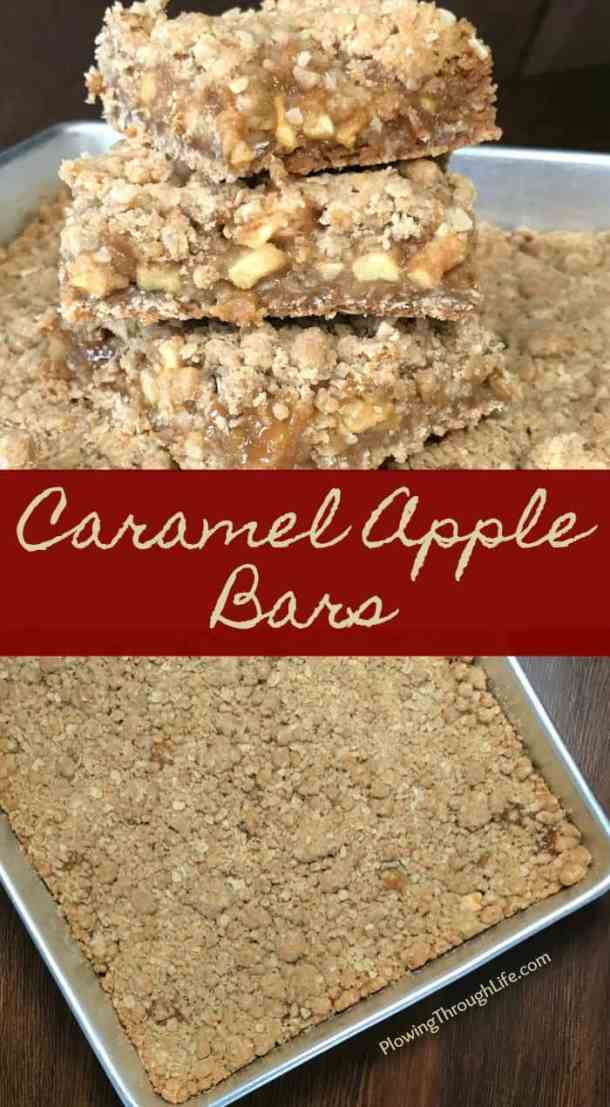 Are you craving the perfect caramel apple dessert?  These Caramel Apple Bars are the perfect caramel apple dessert and the oatmeal topping is perfect!  This recipe is another fall favorite on our farmhouse table!