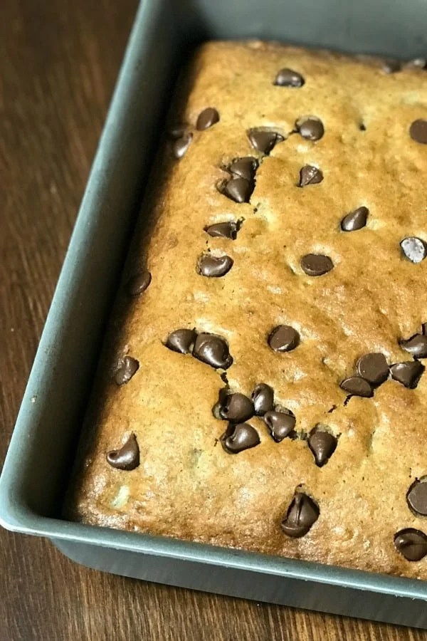 Do you have browning bananas and need a delicious recipe? These chocolate chip banana bars are a favorite on our farmhouse table! We love making the bars thicker and adding plenty of chocolate chips!
