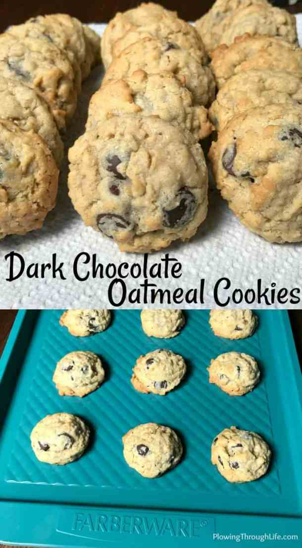 Are you craving warm cookies and milk?  These cookies are the best dark chocolate and oatmeal cookies I've had! I love the fullness the oatmeal adds and the touch of sweetness from the dark chocolate.