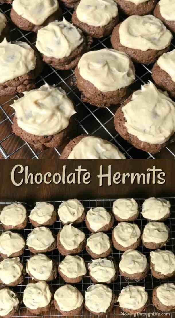 These Chocolate Hermits are the best old-fashioned cookies with icing that I've had!  The nuts and raisins add a great flavor and chewiness while the icing keeps them sweet.  Our family really enjoys these Chocolate Hermit Cookies!