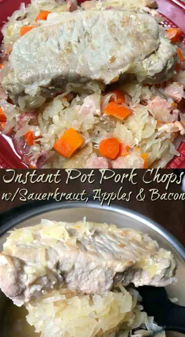 Pork chops and sauerkraut are a classic recipe.  This Instant Pot Pork Chops with Sauerkraut, Apples & Bacon is a way to take this recipe up a notch with great added flavors! #instantpotporkchops