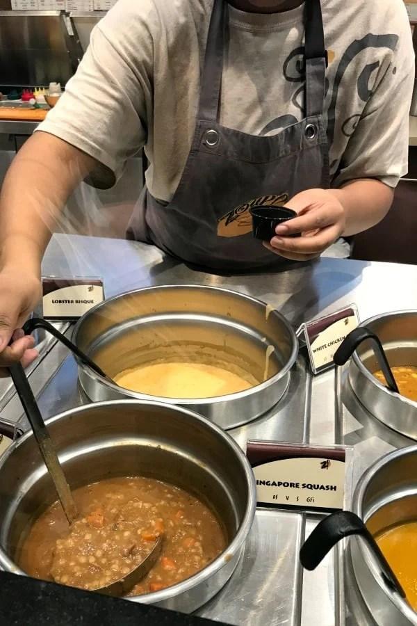 Free samples of soup at Zoup