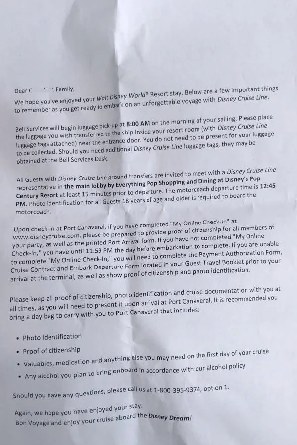 Letter from Disney Cruise Line Transportation about bus time from Disney World Resort to cruise ship