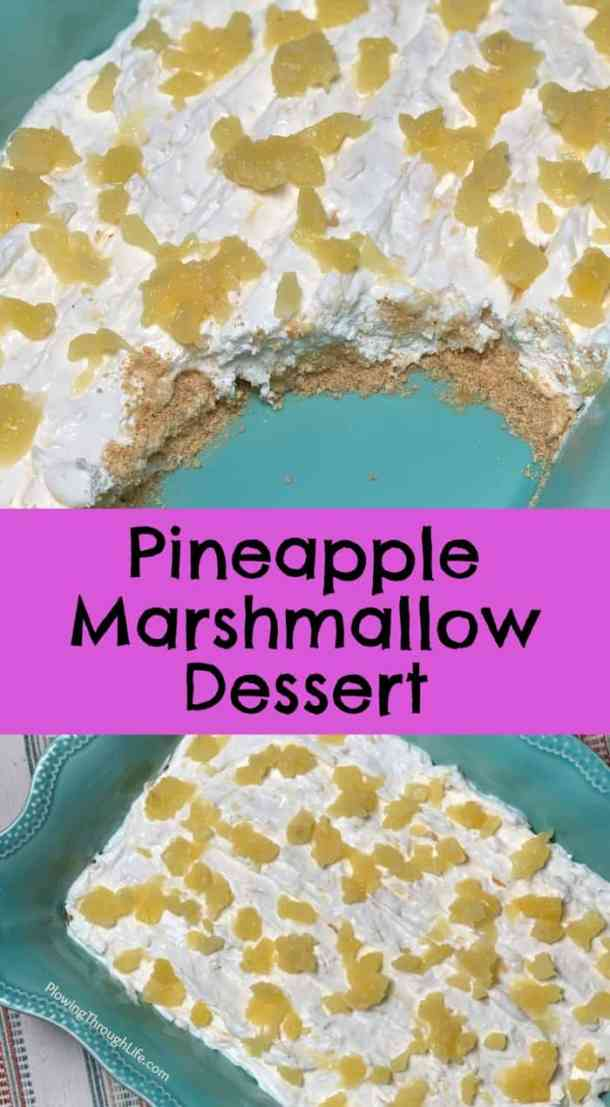 This old fashioned Pineapple Marshmallow Dessert has a light and sweet flavor and is super easy to make. The graham cracker crumbs add a nice touch to the melted marshmallows, whipped topping, and pineapple!