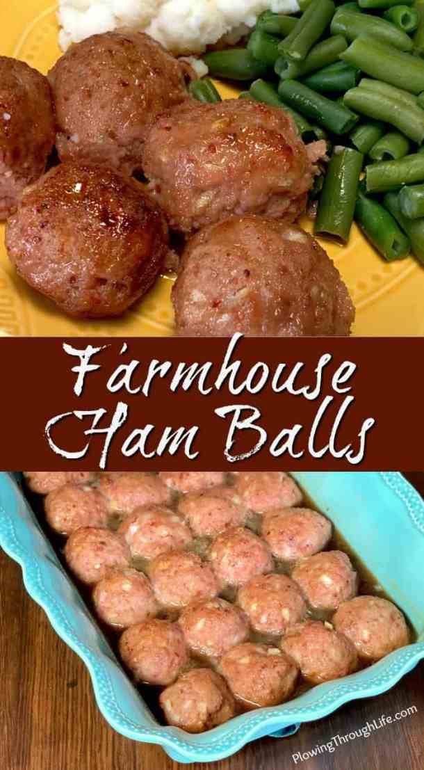 Farmhouse Ham Balls are one of our family's most unique recipes for parties and special meals. Our family ham ball recipe is moist and glazed with a sauce that is slightly sweet and tangy. These ham balls are a delicious treat!