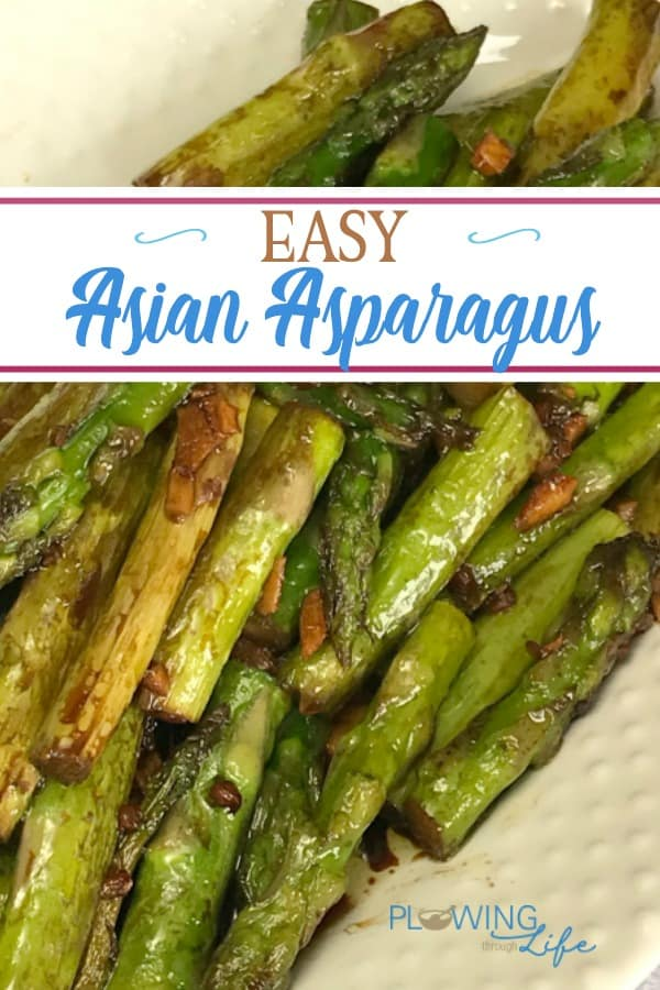 Easy Sauteed Asian Asparagus on a white serving platter