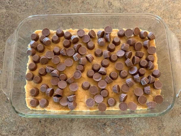 Reeses mini peanut butter cups in a s'mores cake