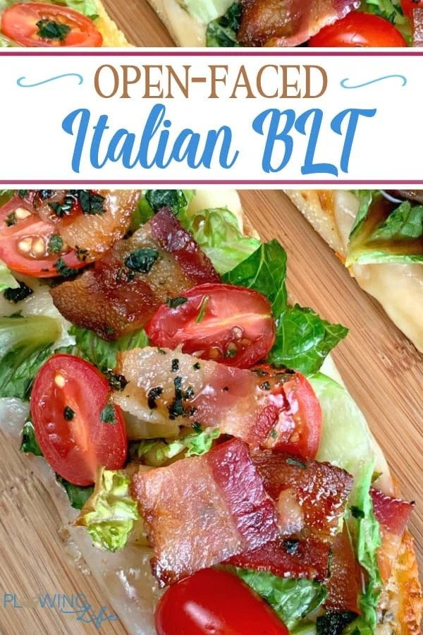 If you're craving a BLT without mayonnaise, this Open-Faced Italian BLT will really hit the spot!  This easy spin on a BLT recipe is a perfect appetizer, party food or light lunch.  The combination of fresh vegetables, bacon, cheese and sweet glaze is amazing!