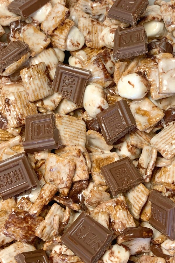 Close up Golden Grahams Smores bars with Hersheys chocolate, marshmallows and cereal