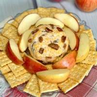 cheddar cheese spread with pecans served on plate with crackers and apples