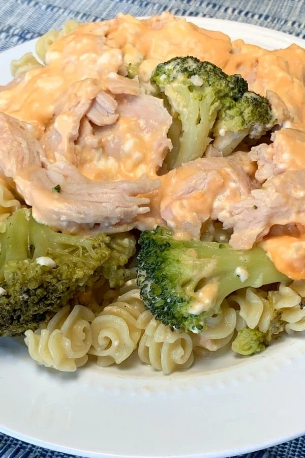 Cheese sauce over turkey and broccoli on a plate