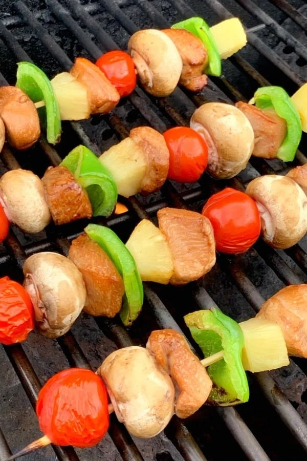 Chicken skewers or kabobs with vegetables on grill