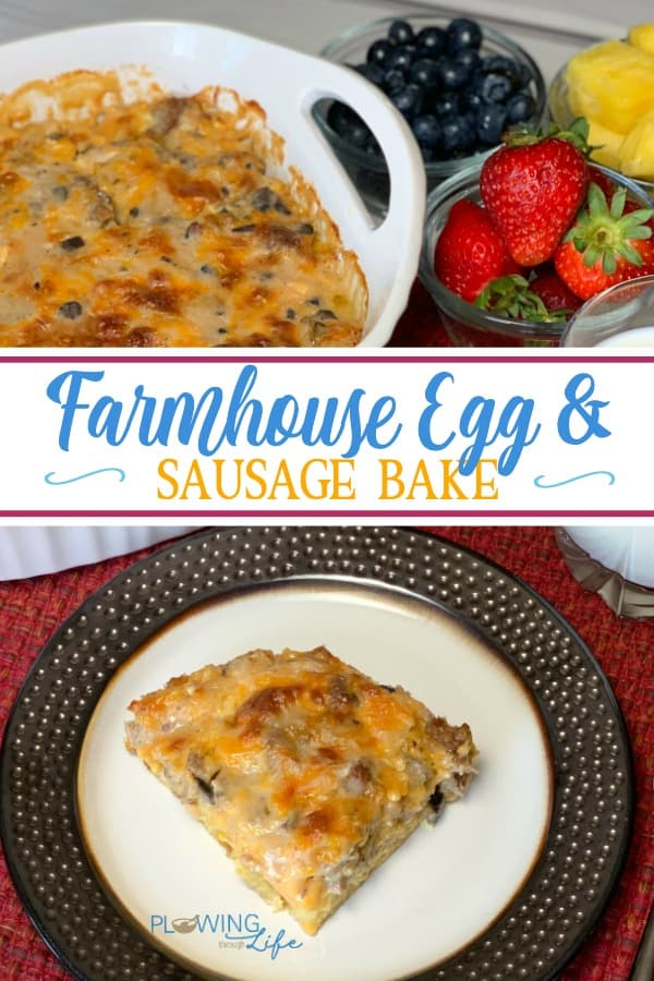 This Farmhouse Egg and Sausage Bake satisfies all of those cravings a hearty meal and makes a delicious brunch, lunch or dinner casserole!