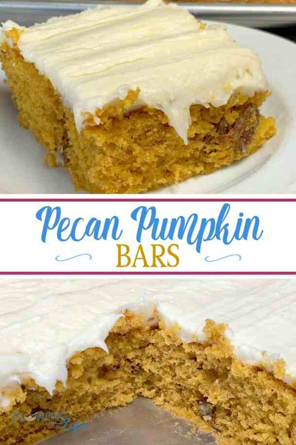 This easy pumpkin recipe with cream cheese has been a long-time family favorite! Pecan Pumpkin Bars with Cream Cheese Icing will satisfy your cravings for a pumpkin dessert with rich frosting! The big sheet pan makes enough to share at a party or for your family to enjoy for several days.