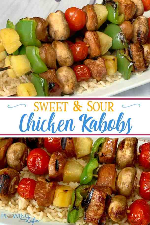 Chicken in an easy sweet and sour marinade threaded on skewers with pineapple and vegetables makes a healthy dinner recipe that is fun to eat!  Sweet and Sour Chicken Kabobs are a new favorite meal for our family!