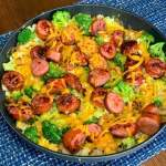 sausage, potato, onion, pepper and broccoli with cheese sprinkled on top makes an easy dinner