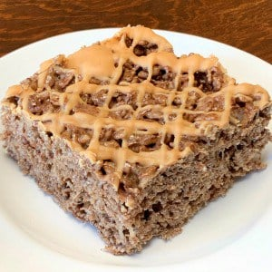 chocolate and peanut butter rice krispie treat square on a white plate