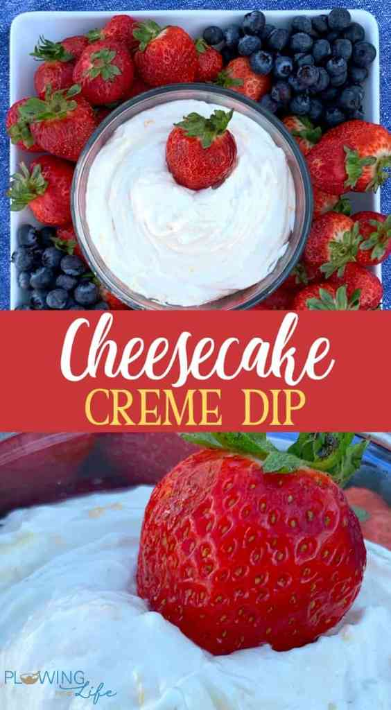 Collage of cream cheese fruit dip with strawberries and blueberries