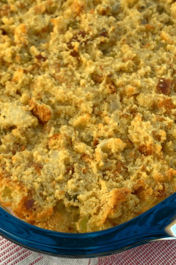 zoomed in homemade cornbread dressing in pan