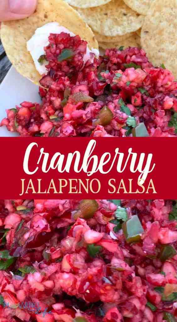 collage of chopped cranberry and jalapeno salsa recipe on chip with cream cheese