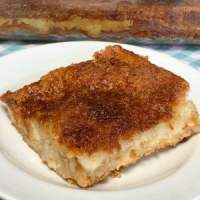 square cream cheese bar on white plate
