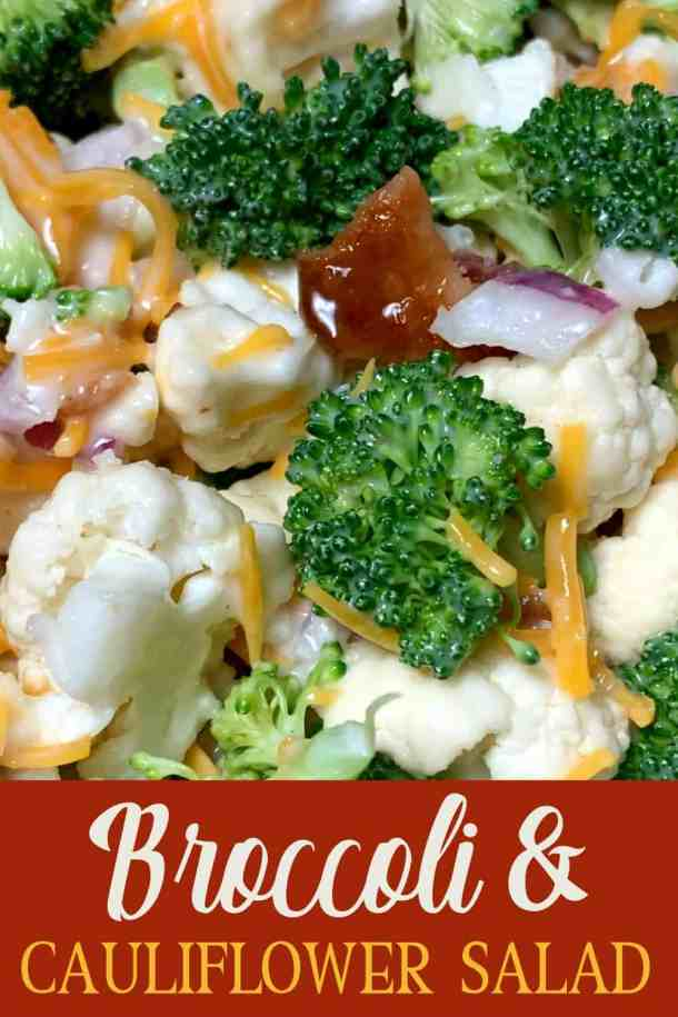broccoli salad with bacon, cauliflower, cheese, onion & Miracle Whip