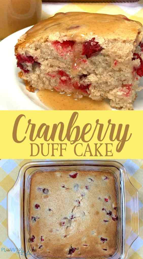 collage of cranberry dessert cake in baking dish and piece on a plate