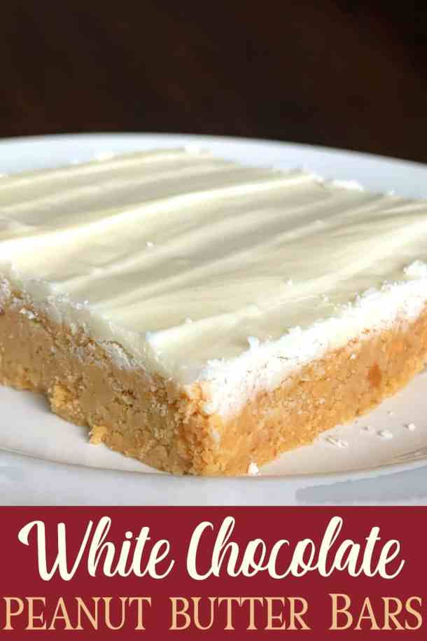 sweet, crunchy peanut butter and graham cracker base topped with melted white chocolate