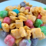 Piece of cereal bar made with Captain Crunch cereal and marshmallows